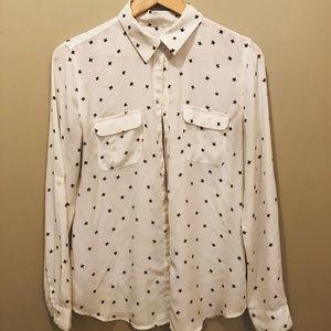 Loft cream and navy star print blouse